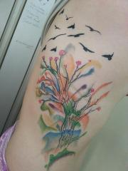 watercolour tree and birds