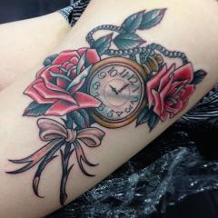 roses, pocket watch