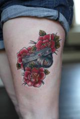 camera and roses