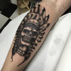 indian head skull tattoo