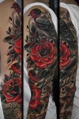 Birds roses