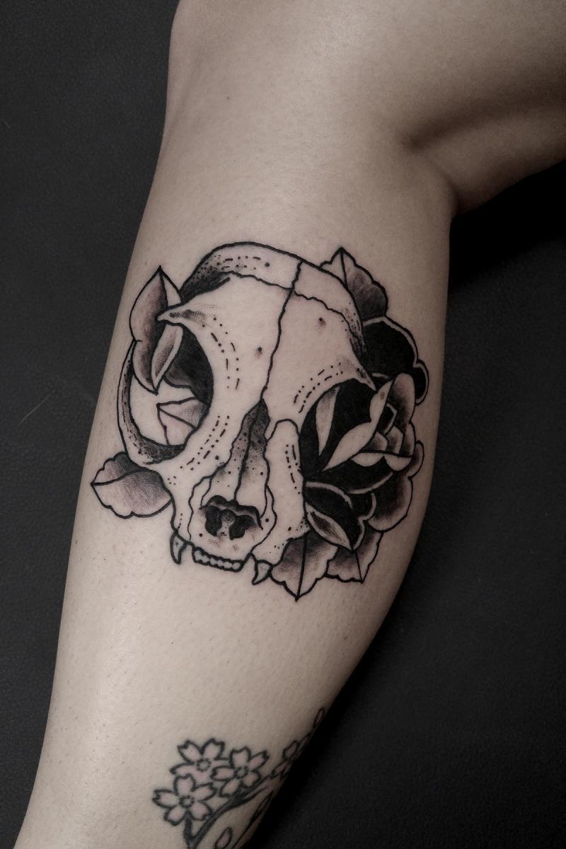 Cat Skull with Rose