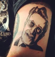 Dr. Strangelove portrait by Charles Burnes tattooed by Doug Hansen at Olde City Tattoo