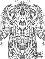 Biomech Skull Full Back