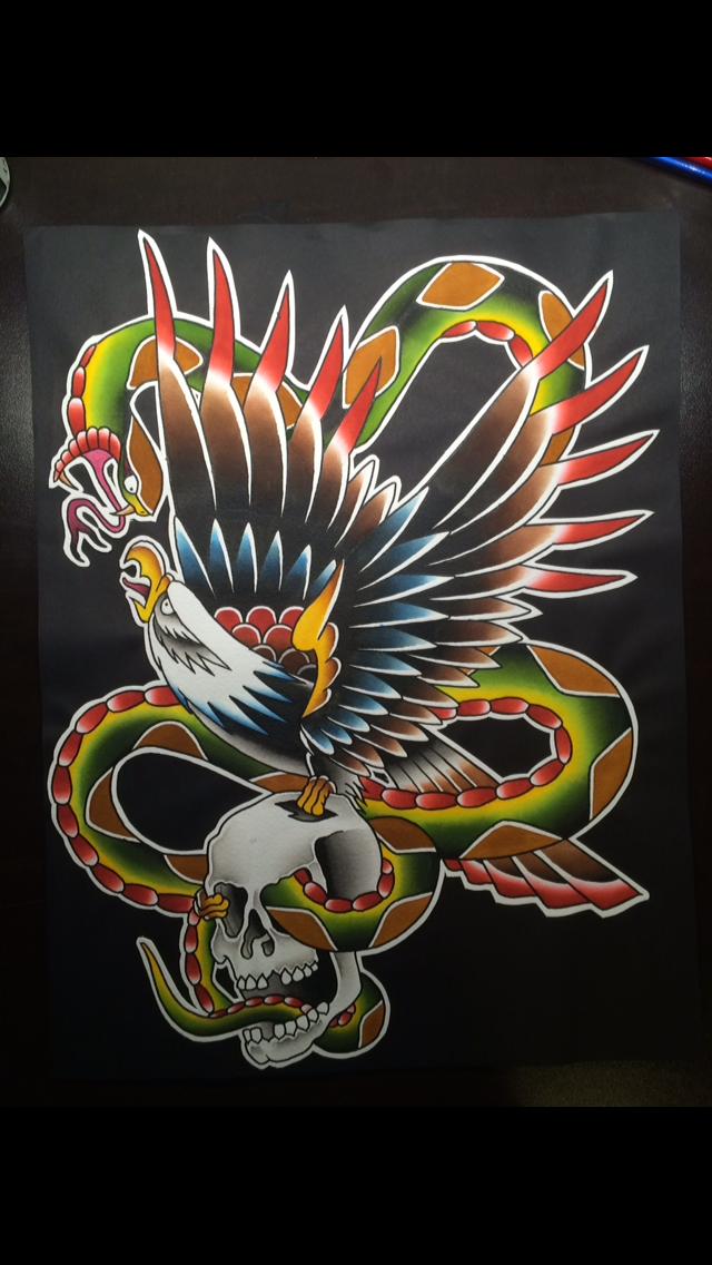 Traditional Eagle/Snake/Skull