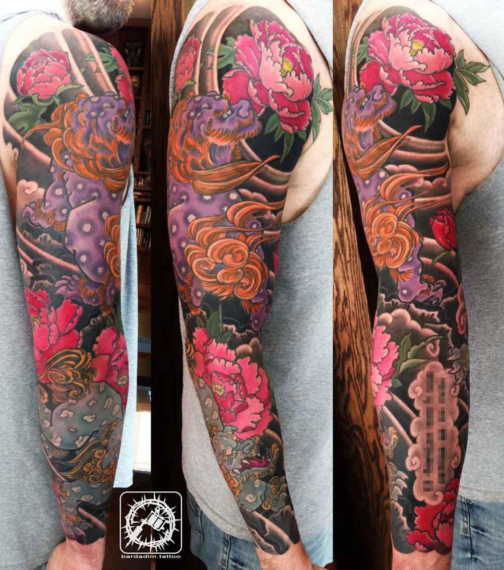 Shishi Lions Japanese tattoo sleeve