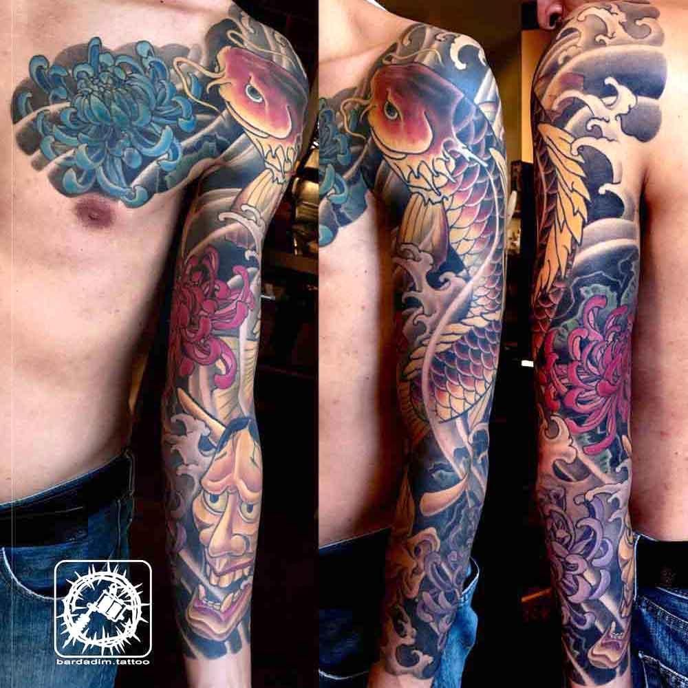 Koi fish Japanese tattoo sleeve