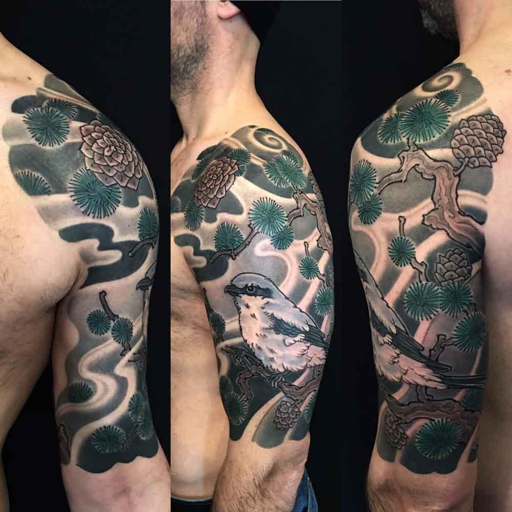 Bird and pine tree Japanese tattoo sleeve
