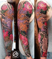 Shishi Lions Japanese tattoo sleeve